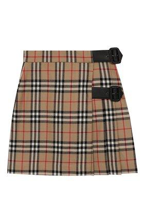 Детская шерстяная юбка BURBERRY бежевого цвета, арт. 8017823 | Фото 1