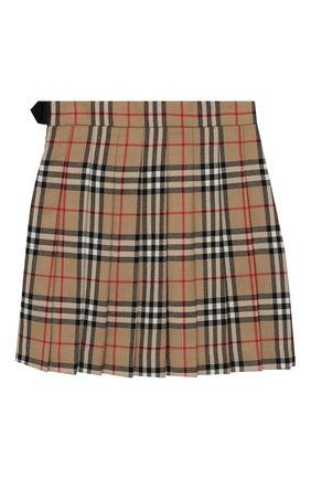 Детская шерстяная юбка BURBERRY бежевого цвета, арт. 8017823 | Фото 2