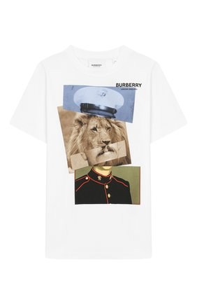 Детская хлопковая футболка BURBERRY белого цвета, арт. 8017848 | Фото 1