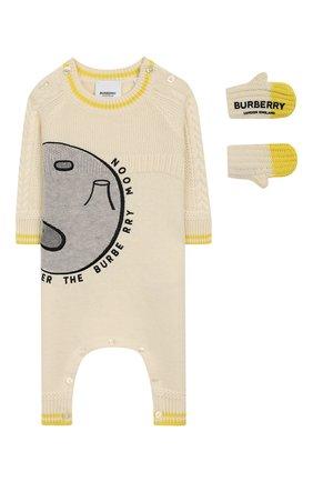 Детский комплект из комбинезона и варежек BURBERRY белого цвета, арт. 8020567 | Фото 1
