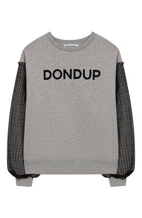 Детский хлопковый свитшот DONDUP серого цвета, арт. YF043/FY00030/Z41 | Фото 1