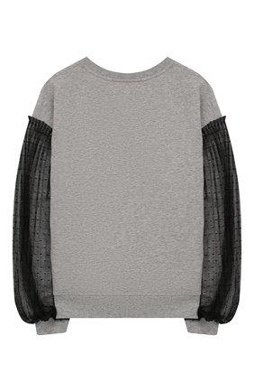 Детский хлопковый свитшот DONDUP серого цвета, арт. YF043/FY00030/Z41 | Фото 2