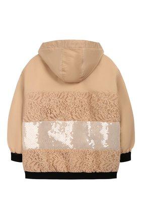 Детская куртка с капюшоном ERMANNO SCERVINO бежевого цвета, арт. 45I CP01 VIN/4-8 | Фото 2