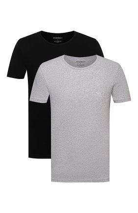 Мужские комплект из двух хлопковых футболок EMPORIO ARMANI черного цвета, арт. 111647/CC722 | Фото 1