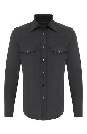Мужская хлопковая рубашка TOM FORD темно-серого цвета, арт. 6FT874/94MEKI | Фото 1