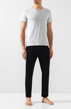 Мужские комплект из двух хлопковых футболок EMPORIO ARMANI серого цвета, арт. 111647/CC722   Фото 2