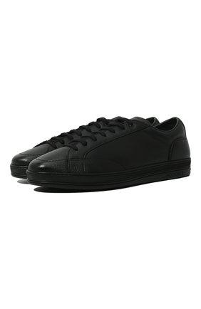 Мужские кожаные кеды DOUCAL'S черного цвета, арт. DU1773GENTUM019NN00 | Фото 1