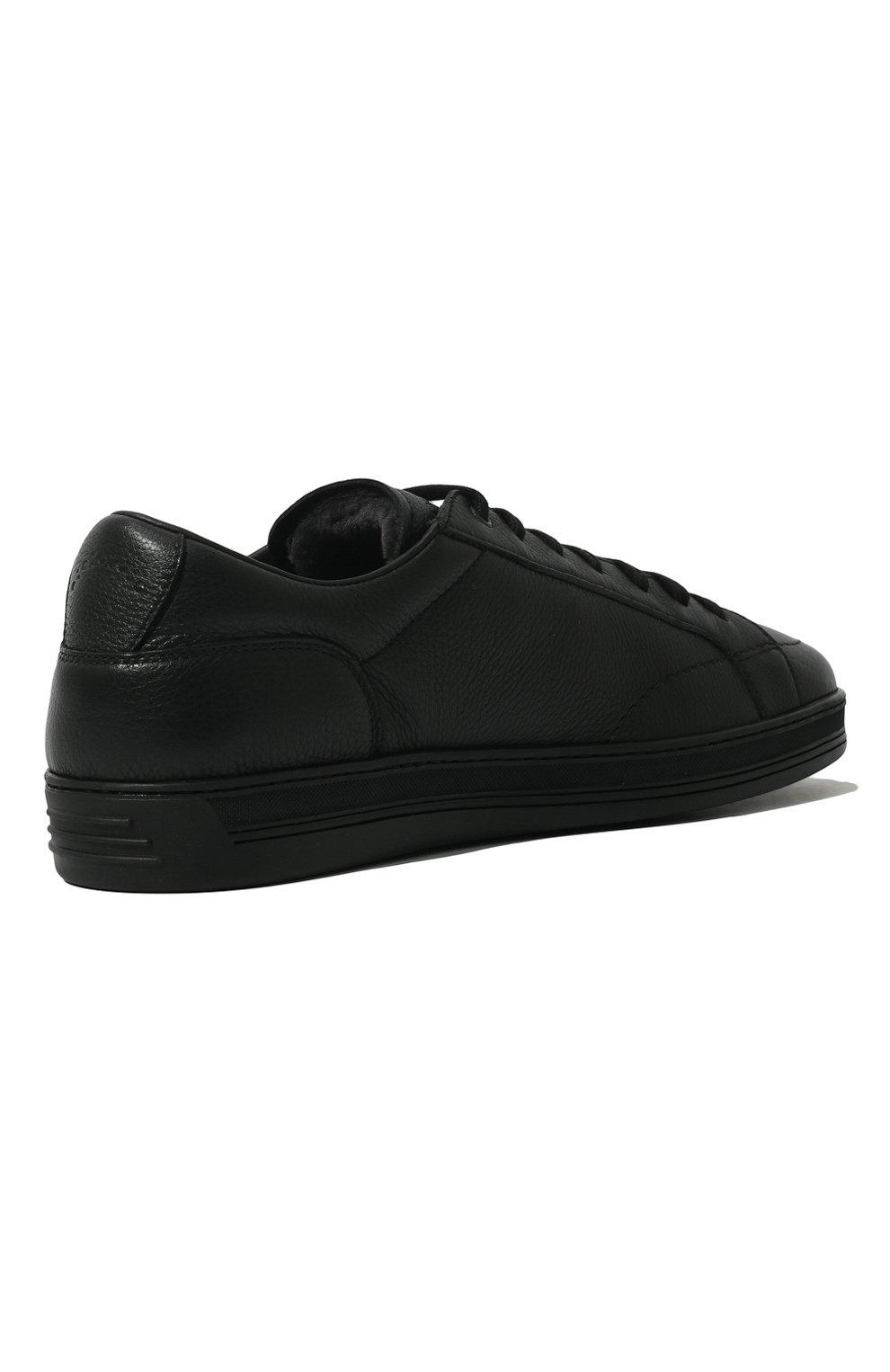 Мужские кожаные кеды DOUCAL'S черного цвета, арт. DU1773GENTUM019NN00 | Фото 5