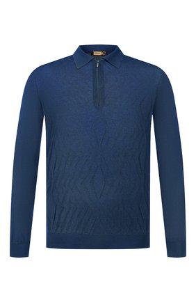 Мужское поло из смеси кашемира и шелка ZILLI синего цвета, арт. MBS-PZ022-B0SP1/ML01 | Фото 1