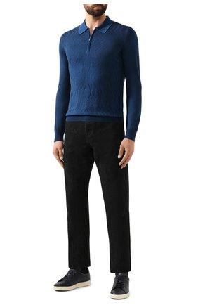 Мужское поло из смеси кашемира и шелка ZILLI синего цвета, арт. MBS-PZ022-B0SP1/ML01 | Фото 2