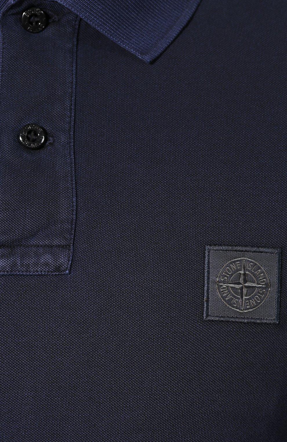 Мужское хлопковое поло STONE ISLAND темно-синего цвета, арт. 711522S67 | Фото 5