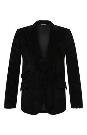 Мужской хлопковый пиджак DOLCE & GABBANA черного цвета, арт. G2MD4T/FUVHA | Фото 1