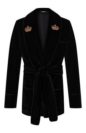 Мужской хлопковый пиджак DOLCE & GABBANA черного цвета, арт. G001JZ/FUWBN | Фото 1