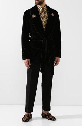 Мужской хлопковый пиджак DOLCE & GABBANA черного цвета, арт. G001JZ/FUWBN | Фото 2