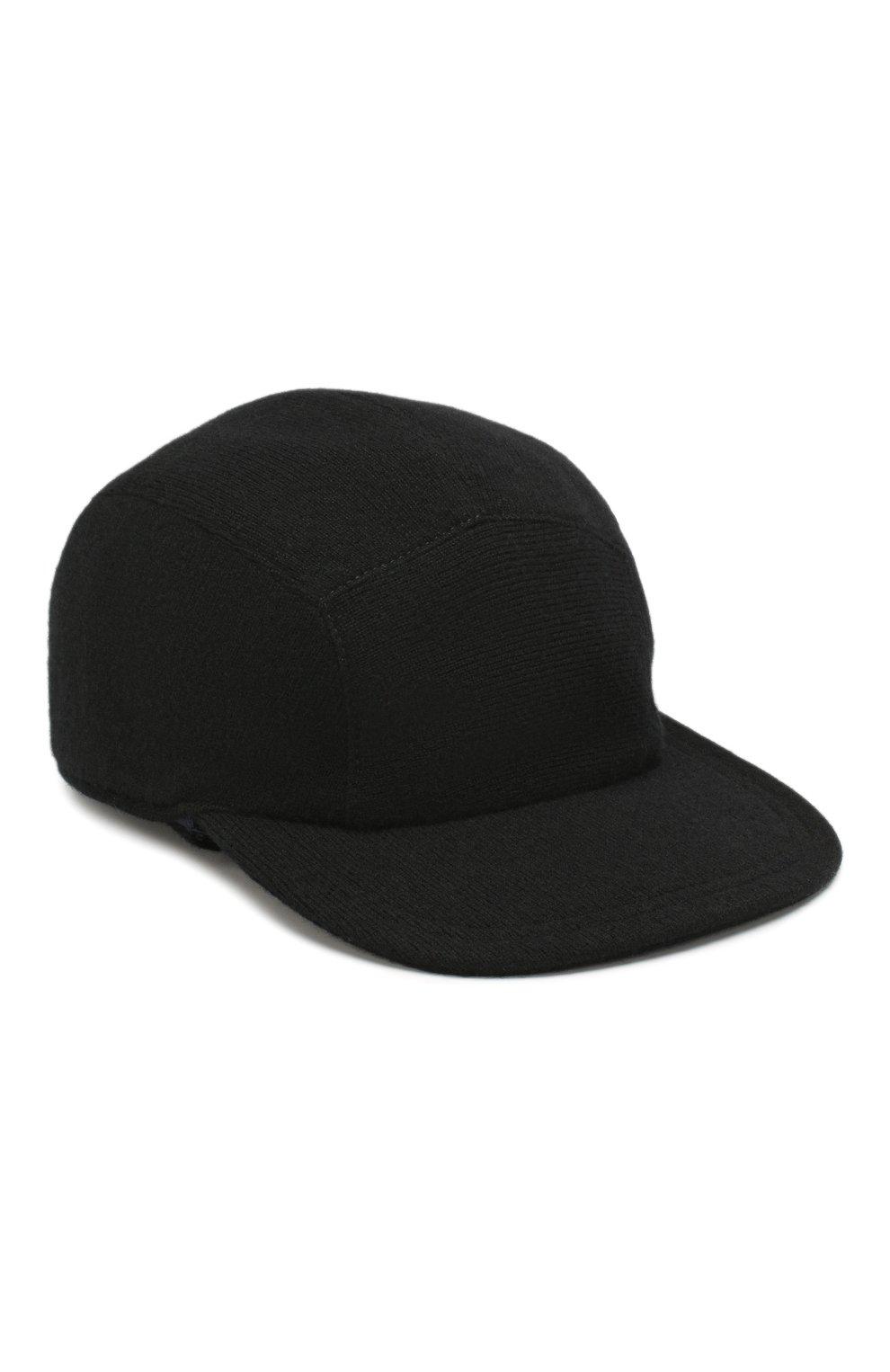 Мужской кашемировая бейсболка SVEVO черного цвета, арт. 01041SA19/MP01/2 | Фото 1