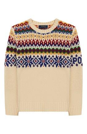 Детский пуловер из хлопка и шерсти POLO RALPH LAUREN бежевого цвета, арт. 323760328 | Фото 1