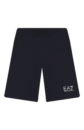 Детские хлопковые шорты EA 7 темно-синего цвета, арт. 6GBS51/BJ05Z | Фото 1