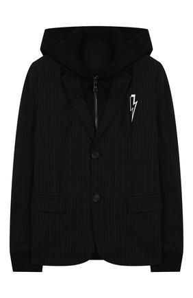 Детский шерстяной пиджак с капюшоном NEIL BARRETT KIDS черного цвета, арт. 020591 | Фото 1