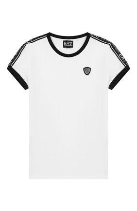 Детская хлопковая футболка EA 7 белого цвета, арт. 6GFT59/FJ29Z | Фото 1