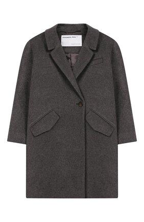 Детское пальто из шерсти и льна DESIGNERS, REMIX GIRLS серого цвета, арт. 15360 | Фото 1