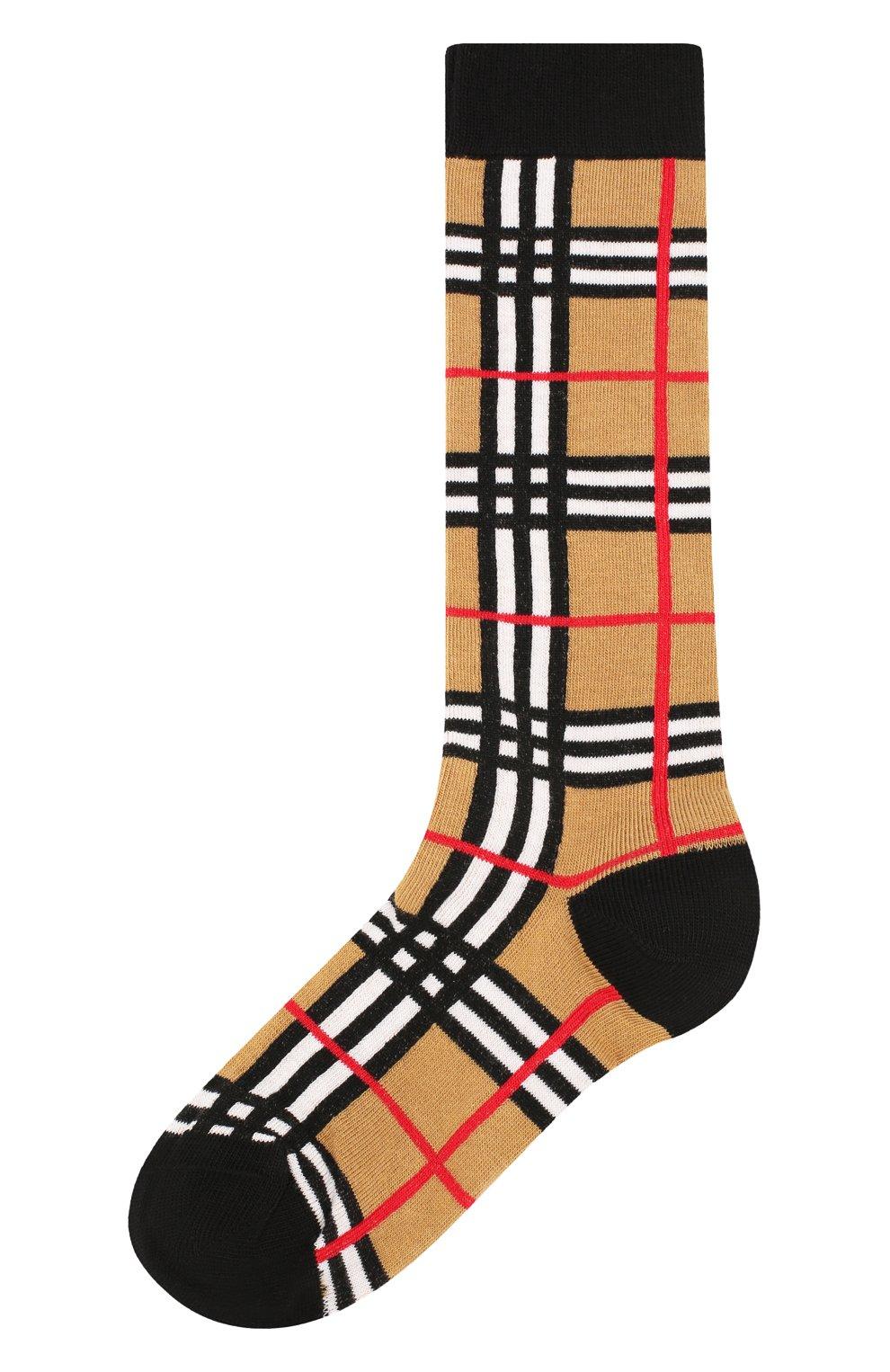 Детские хлопковые носки BURBERRY светло-серого цвета, арт. 8018178   Фото 1