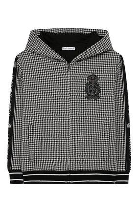 Детский толстовка с капюшоном DOLCE & GABBANA черно-белого цвета, арт. L4JW7D/G7TYS/8-14 | Фото 1