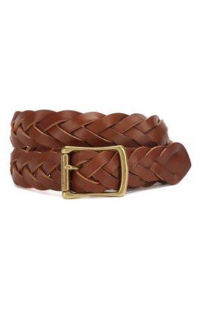 Мужской кожаный ремень RALPH LAUREN коричневого цвета, арт. 404761810 | Фото 1