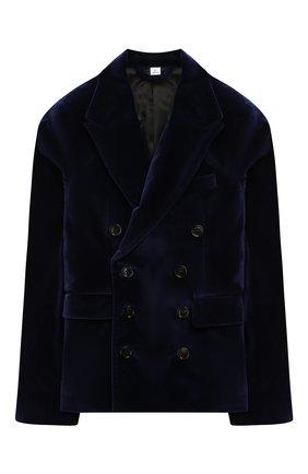 Детский бархатный пиджак BURBERRY темно-синего цвета, арт. 8017750 | Фото 1