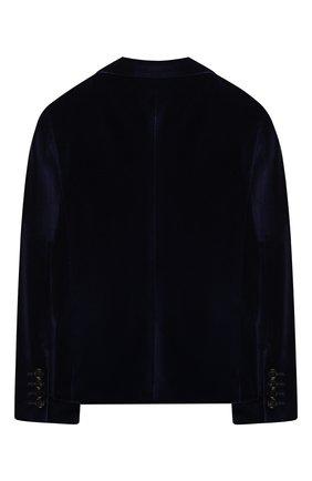 Детский бархатный пиджак BURBERRY темно-синего цвета, арт. 8017750 | Фото 2