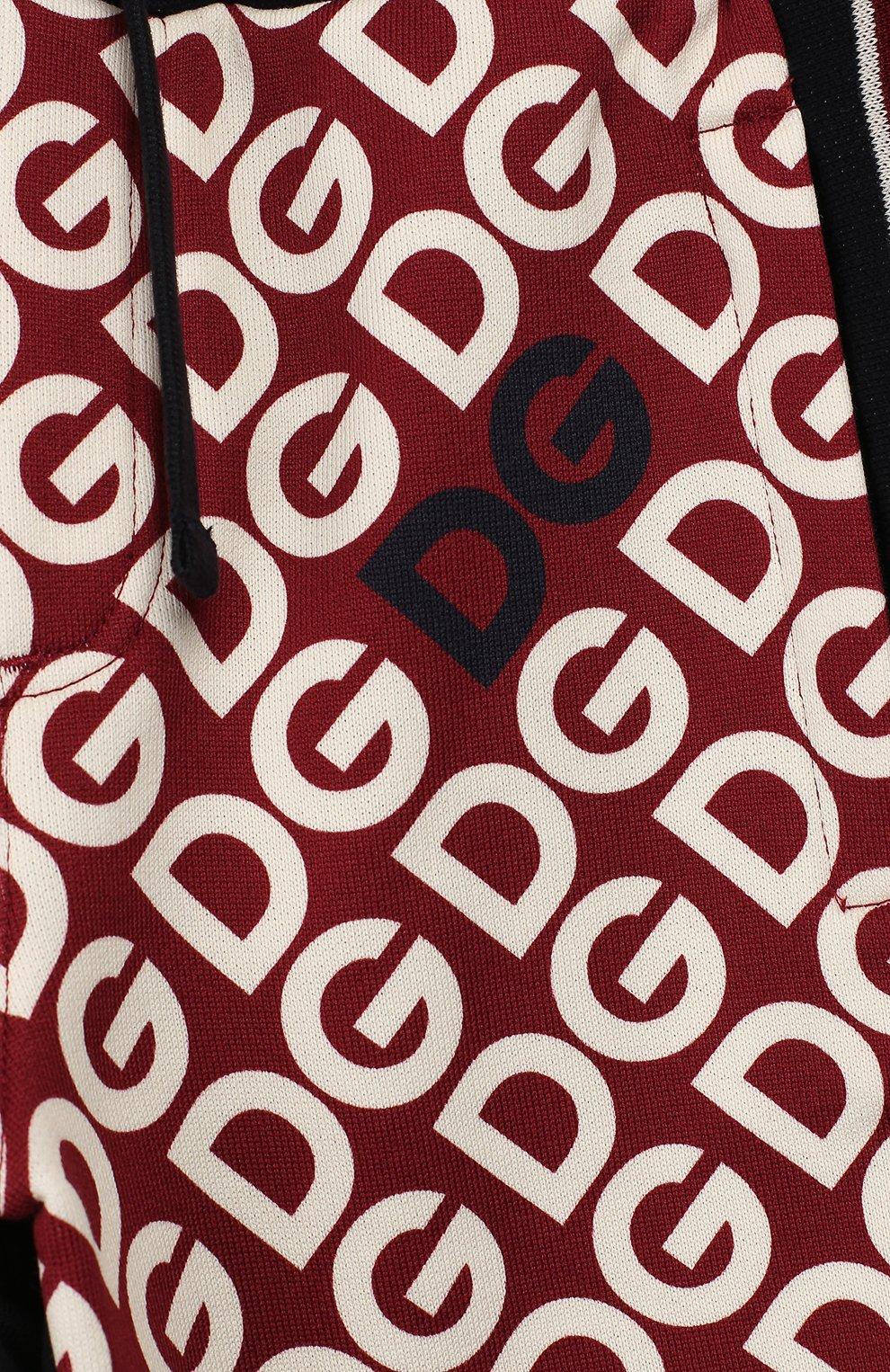 Детские хлопковые джоггеры DOLCE & GABBANA бордового цвета, арт. L4JPW3/G7TXJ/2-6   Фото 3