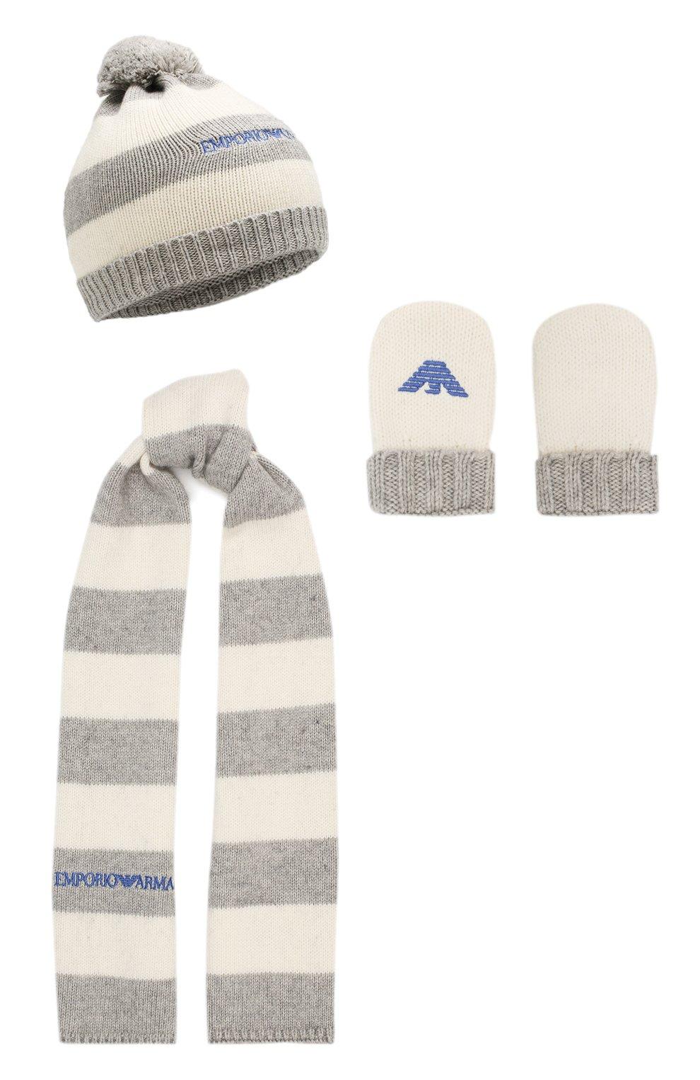Комплект из шапки с шарфом и варежек | Фото №1