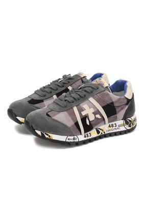 Детские кроссовки из кожи и текстиля PREMIATA WILL BE серого цвета, арт. LUCY/1187/CHILD | Фото 1