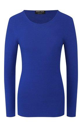 Женский пуловер GIORGIO ARMANI синего цвета, арт. 8NAM31/AM05Z | Фото 1 (Статус проверки: Проверено, Проверена категория; Рукава: Длинные; Материал внешний: Синтетический материал, Вискоза; Длина (для топов): Стандартные; Женское Кросс-КТ: Пуловер-одежда)