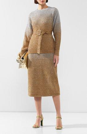 Женская пуловер с поясом DRIES VAN NOTEN золотого цвета, арт. 192-11226-8729 | Фото 2