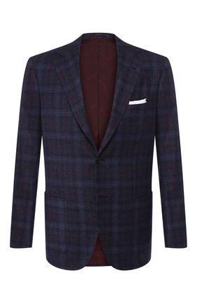Мужской пиджак из смеси шерсти и кашемира KITON темно-синего цвета, арт. UG81K02S18 | Фото 1