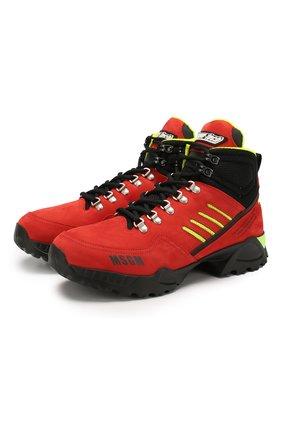 Мужские кожаные ботинки MSGM красного цвета, арт. 2740MS2387 | Фото 1