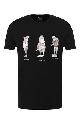 Мужская хлопковая футболка PAUL&SHARK черного цвета, арт. A19P1659 | Фото 1