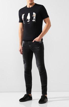 Мужская хлопковая футболка PAUL&SHARK черного цвета, арт. A19P1659 | Фото 2