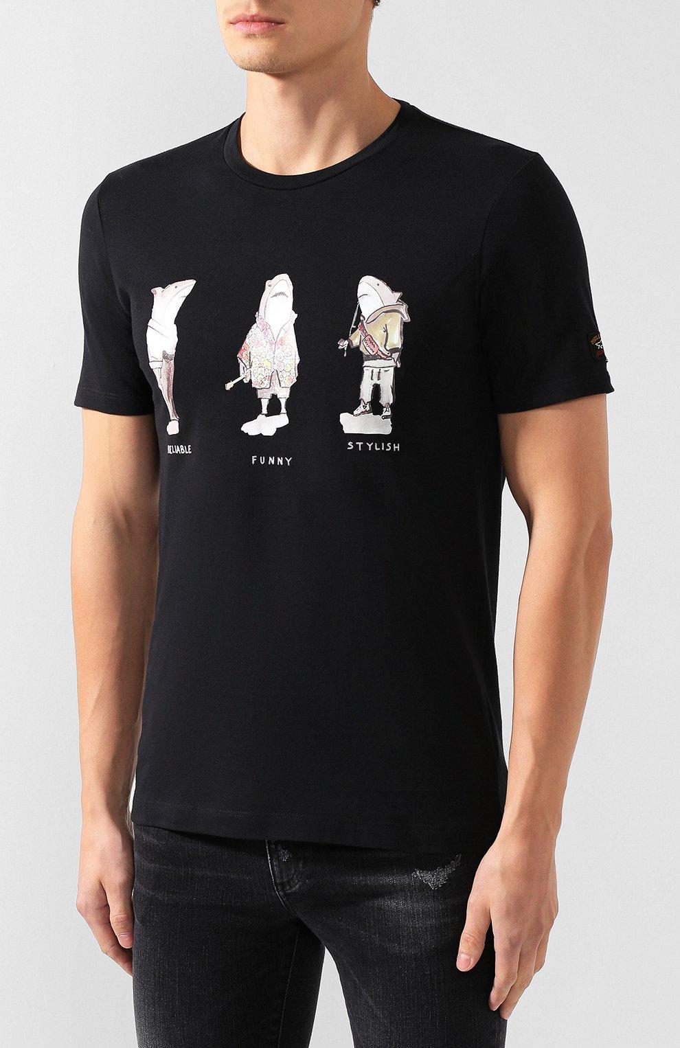 Мужская хлопковая футболка PAUL&SHARK черного цвета, арт. A19P1659 | Фото 3