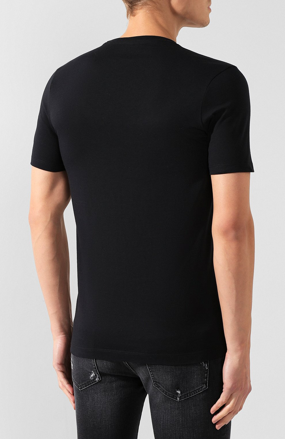 Мужская хлопковая футболка PAUL&SHARK черного цвета, арт. A19P1659 | Фото 4