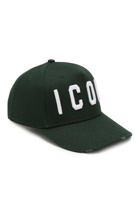 Мужской хлопковая бейсболка icon DSQUARED2 темно-зеленого цвета, арт. BCM4001 05C00001 | Фото 1