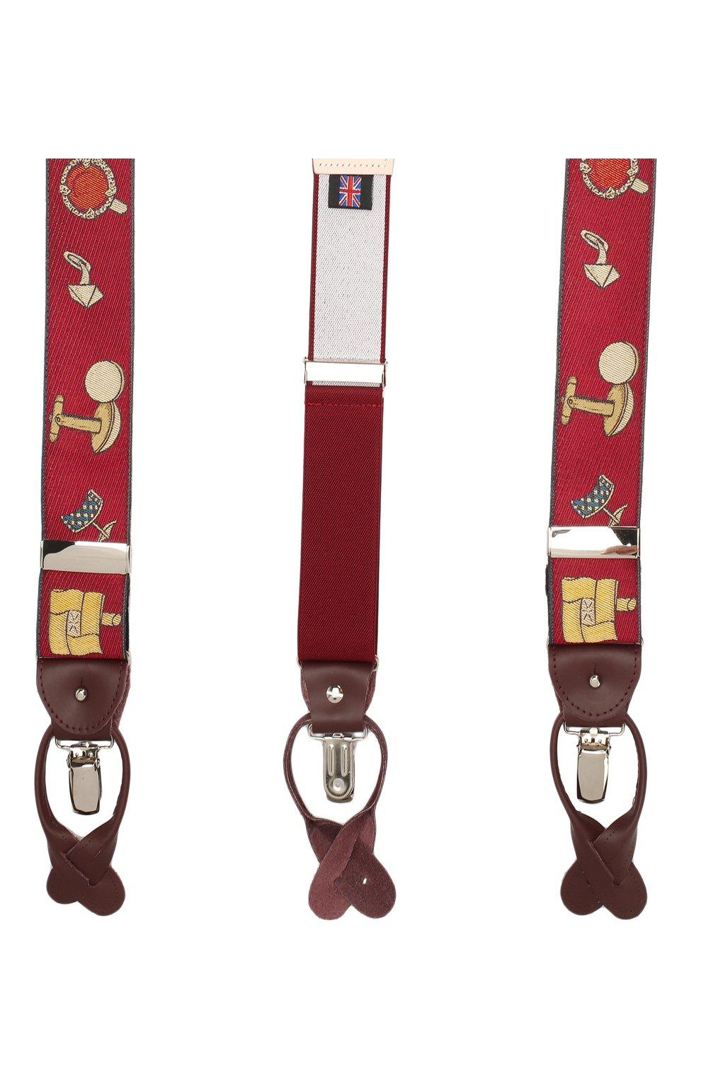 Мужские шелковые подтяжки с кожаной отделкой ALBERT THURSTON бордового цвета, арт. 55R/2435 | Фото 2 (Материал: Текстиль)