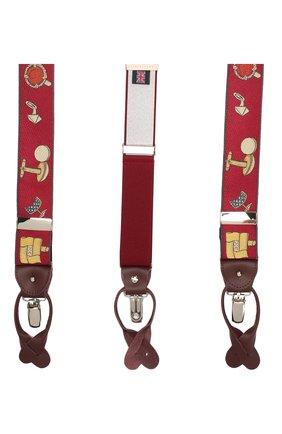 Мужские шелковые подтяжки с кожаной отделкой ALBERT THURSTON бордового цвета, арт. 55R/2435 | Фото 2