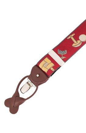 Мужские шелковые подтяжки с кожаной отделкой ALBERT THURSTON бордового цвета, арт. 55R/2435 | Фото 3 (Материал: Текстиль)