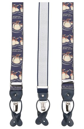 Мужские шелковые подтяжки с кожаной отделкой ALBERT THURSTON синего цвета, арт. 55R/2180 | Фото 2