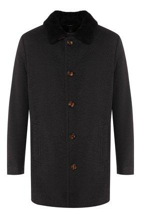 Мужской шерстяное пальто с меховой подкладкой GIMO'S темно-серого цвета, арт. 19AI.0.360.TLC | Фото 1
