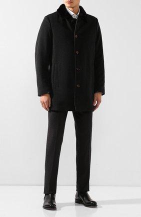 Мужской шерстяное пальто с меховой подкладкой GIMO'S темно-серого цвета, арт. 19AI.0.360.TLC | Фото 2
