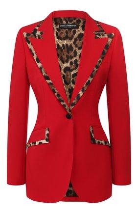 Женский жакет из смеси шерсти и шелка DOLCE & GABBANA красного цвета, арт. F297QT/FUBEI | Фото 1