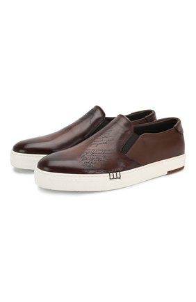 Мужские кожаные слипоны BERLUTI коричневого цвета, арт. S4071-001 | Фото 1