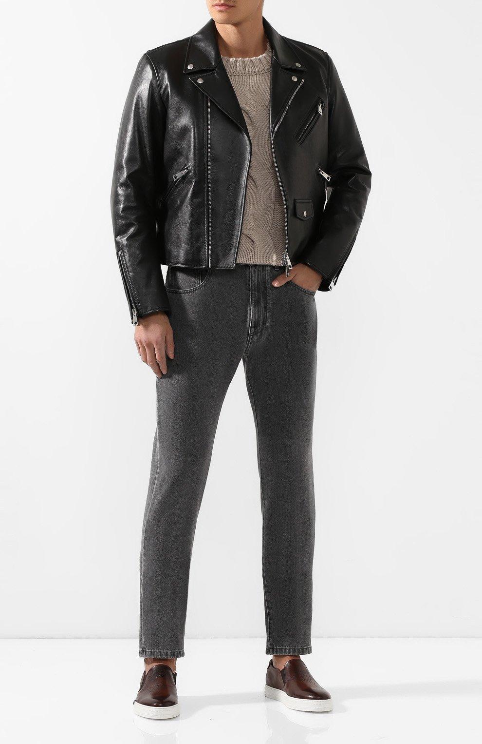 Мужские кожаные слипоны BERLUTI коричневого цвета, арт. S4071-001 | Фото 2
